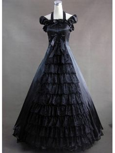 Charming-Black-And-White-Square-Neck-Gothic-Victorian-Dress-With ...