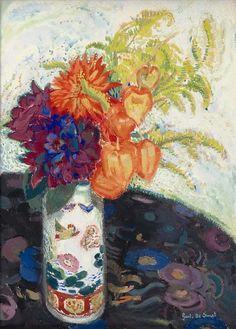 Gustave De Smet (Belgian, 1877-1943), «Dahlias and Lantern flowers», 1914