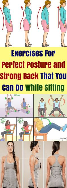 For Perfect Posture & Strong Back That You Can Do While Sitting! Exercises For Perfect Posture & Strong Back That You Can Do While Sitting!Exercises For Perfect Posture & Strong Back That You Can Do While Sitting! Health Goals, Health Tips, Health And Wellness, Health Fitness, Health Guru, Health Diary, Strong Back, Perfect Posture, Health Routine