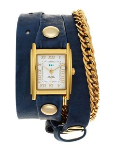 Women's Gold Chain & Royal Blue Leather Wrap Watch by La Mer Collections at Gilt Gold Chains, Royal Blue, Jewelery, Product Launch, Collections, My Style, Leather, Ornament, Navy