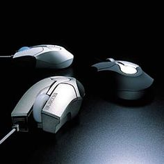 """A mouse by Elecom designed by Masamune Shirow of Ghost in the Shell fame.  The Elecom site has a nice quote about the engineering process: """"THE MECHANICAL DESIGNERS ACCELERATE THE PERIPHERAL PRODUCTS"""""""