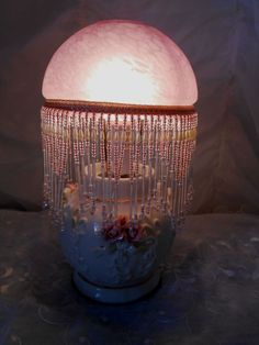 Vintage Shabby Cottage Pink Roses Gold Trim Lamp/Glass Bead Fringe Shade