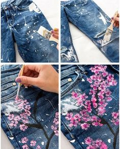Ideas and Decor - DIY and crafts - Painted Denim Jacket, Painted Jeans, Painted Clothes, Diy Clothes And Shoes, Diy Summer Clothes, Custom Clothes, Customised Clothes, Diy Jeans, Refaçonner Jean