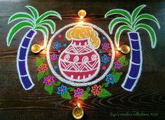 Small Rangoli Design, Rangoli Designs With Dots, Beautiful Rangoli Designs, Kolam Designs, Mehndi Designs, Rangoli Designs Latest, Rangoli Designs Diwali, Diwali Rangoli, Purple Christmas Tree