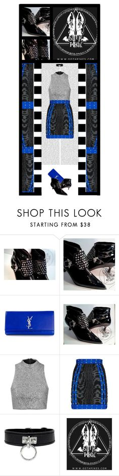 """Goth Pikes (49)"" by irresistible-livingdeadgirl ❤ liked on Polyvore featuring Yves Saint Laurent, Oris, Topshop, Balmain, YSL, emo, goth, metallic and balmain"