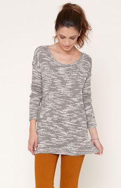 Slub Pullover Tunic Sweater
