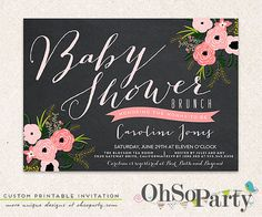 BABY & BLOOM Custom Baby Shower Invitation Card by ohsoparty
