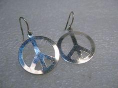 """Silver Peace Symbol Pierced Earrings,1.25"""", 1980's Retro. #Unbranded #Pierceddangle"""