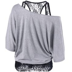 Off Shoulder Blouse Lace Inset Loose Casual Short Sleeve Fashion Top
