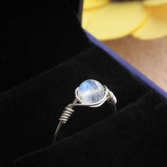 925 Sterling Silver Ice Blue Natural Moonstone Ring