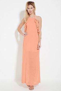Flounced Halter Maxi Dress