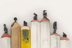 Tiny pencil scultures by Diem Chau