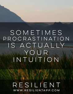 Sometimes we procrastinate because we're resisting something or just don't feel like doing it. But sometimes procrastination is actually your intuition.