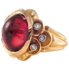 Rosamaria G Frangini | High Red Jewellery | 1940s Retro Tourmaline Diamond Gold Ring | From a unique collection of vintage fashion rings at https://www.1stdibs.com/jewelry/rings/fashion-rings/
