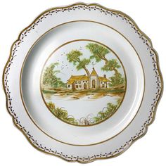 Antique English or Welsh Prattware, Silver Shape Charger | From a unique collection of antique and modern dinner plates at https://www.1stdibs.com/furniture/dining-entertaining/dinner-plates/