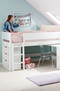 Next Compton Mid Sleeper Single Bed Frame with Desk - White Small Room Bedroom, Room Decor Bedroom, Girls Bedroom, Bedroom Ideas, Rose Bedroom, Bed Ideas, Bed Room, White Mid Sleeper, Mid Sleeper Bed