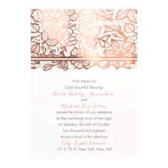 Floral Lace Foil Wedding Invitation by #DavidsBridal #lacewedding #weddinginvitations