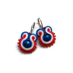 Delicate soutache earrings marine red blue white by SaboDesign