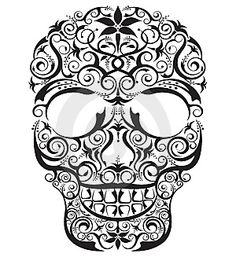 Black and white sugar skull drawing #drawing #sugarskull #tattoo
