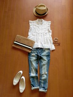 definitely a weekend brunch during the summer type of outfit. Japan Fashion, Daily Fashion, Love Fashion, Womens Fashion, Summer Outfits, Casual Outfits, Fashion Outfits, Mode Simple, Mein Style