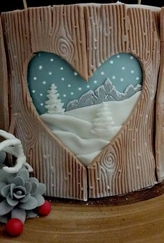 Christmas cake wood bear hare snow acorns berries fondant sugarpaste antlers bunting