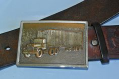 Freight-Liner Belt Buckle/1960's Authentic Trucker?s Belt - Vintage Hand-tooled Leather - Nut & Bolt construction - Excellent Worn Patina