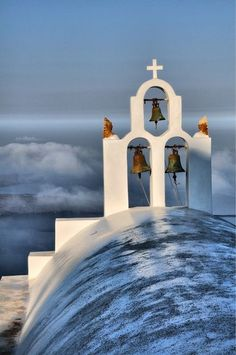 Santorini is famous for the blue domed & colorful chirches. Religious tourism in Santorini Santorini Island, Santorini Greece, Santorini House, Mykonos, Beautiful Islands, Beautiful Places, Wonderful Places, Places To Travel, Places To Visit