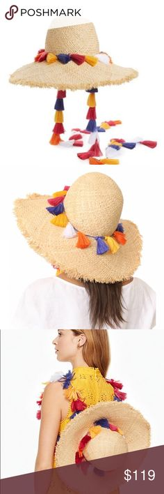 NWT Kate Spade tassel sun hat **please not, only 1 tassel strap included, not 2 as shown in stock photo **  A string of vibrant tassels accents a classic straw sun hat that offers bohemian style along with maximum sun-blocking power. Let the tassels hang free while sitting on the beach or hang around your neck to carry on your back.  Tassel is removable Woven raffia with polyester tassels Professional clean kate spade Accessories Hats