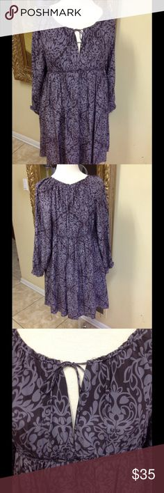 Joie Print Dress Size L Adorable purple print dress by Joie size L. Drawstring top and waist, great style, minor wear, low price. Joie Dresses Mini