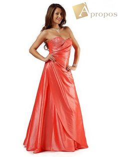 Abendkleid Ballkleid Satin Perlen Push Up Träger Futter Orange Lachs 36