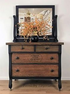 Antique Dresser, French country, Dresser with mirror - SOLD……….Antique Dresser, French country, Dresser with mirror Refurbished Dressers, Dresser Refinish, Oak Dresser, Vintage Dressers, Antique Dresser With Mirror, Restored Dresser, Two Toned Dresser, Redone Dressers, Black Painted Dressers
