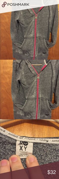 Gray roxy zip up hoodie size L in great condition Gray zip up hoodie from roxy size large in great condition Roxy Tops Sweatshirts & Hoodies