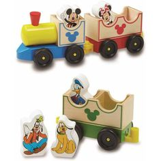 All aboard the Mickey Express! Wooden cars to link, unlink, and rearrange make this charming wooden train set a playful ride for Mickey and all his friends. Join this happy bunch for story time with this engaging wooden train. Wherever they travel, Mickey's friends are sure to find lots of fun!