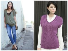 Weekly Style Inspiration: A deep V-neck paired with a lacy tank adds a feminine touch, even if you pair it with your old jeans! Knit your own with the Delancey Top pattern in S. Charles's ENYA. (Inspiration photo, left, from songofstyle.com)