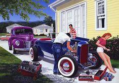 Automotive Art by Bruce Kaiser, Hot Rod Art Home Page theme paintings Vintage Cars, Antique Cars, Vintage Auto, Vintage Stuff, E Motor, Mechanical Art, Wall Art Prints, Canvas Prints, Garage Art
