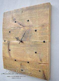 Wall Clock, Rustic Clock, Wooden Clock, Clock, Handmade Wall Clock, Reclaimed Wood Clock, Large clock,  Modern Clock, Large wood Clock by CharliePoopFactory on Etsy https://www.etsy.com/listing/508271102/wall-clock-rustic-clock-wooden-clock