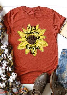 ♥ Something To Be Thankful For T-Shirt Tee. This pretty t-shirt is perfect for any Thanksgiving celebration. The fabrics blend of cotton, polyester, and rayon makes this T-shirt super soft to the touch. Its softly flowing silhouette means this very feminine companion offers great comfort wherever you go. #womenstshirts #Thanksgivingoutfits #womensfashion #Thanksgivingtshirts #tshirts