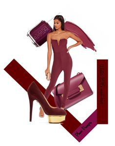 """""""Plum"""" by elisabetta-negro ❤ liked on Polyvore featuring Essie, Sophie Hulme, Missguided, Charlotte Olympia, fallshoes and plumpumps"""