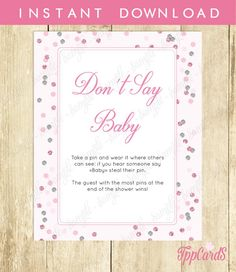 Don't Say Baby Game Baby Shower Games Printable Polka Dot Baby Shower Game Don't Say Baby Sign Diaper Pins Clothes Pins Game Pink 0056A by TppCardS #tppcards #printable #invitations
