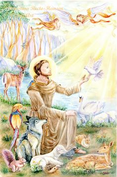 Religious Art St Francis of Assisi with animals by cristinahansen