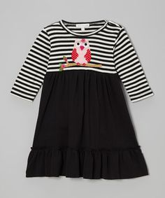 Take a look at this Black Stripe Owl Dress - Infant & Toddler by Victoria Kids on #zulily today!