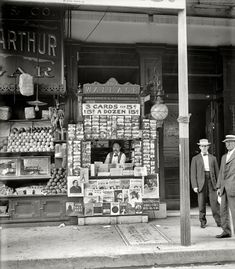 """Elephant in Tiger Skin: Old Photos of New Orleans (& LA)""""Smallest news & post card stand in New Orleans.""""  103 Royal Street, 1908."""