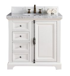 "James Martin 238-105-V36-CWH Providence 36"" Single Bathroom Vanity in Cottage White Finish"