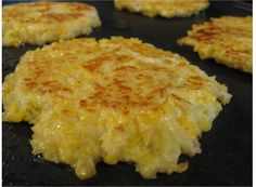 Cheesy Cauliflower Pancakes    1 head cauliflower  2 lg eggs/egg whites  1/2 c cheddar cheese, grated  1/2 c panko (gf)  1/2 t cayenne pepper (to taste)  salt  olive oil    Cut  into florets, cook in boiling water until tender about 10 minutes, Drain, Mash while still warm. Mix all but oil.  Coat griddle/skillet with olive oil over medium-high heat. Form cauliflower mixture into patties about 3 inches across. Cook until golden brown & set, about 3 minutes per side.     Makes 8 pancakes