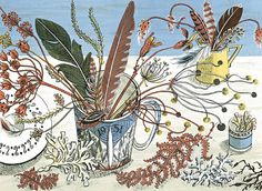 Angie Lewin - Cup, Feathers and Seaweed