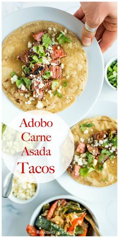 Enjoy Adobo Carne Asada Tacos Recipe for Taco Tuesday or any casual meal. Serve with a side of easy creamy grilled peppers and onion (rajas). Mexican Food Dishes, Mexican Food Recipes, Dinner Recipes, Mexican Meals, Main Dishes, Side Dishes, Flank Steak Tacos, Camp Chef, Grilled Peppers And Onions