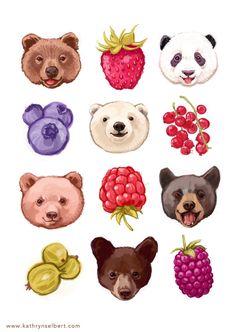 Fine Art Print Bears and Berries Illustration by kathrynselbert, $22.00