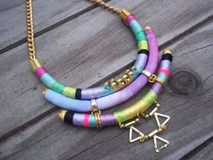 Wrapped rope Necklace Native inspired tribal by tashtashop