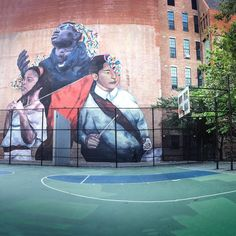 "3 basketball courts and a large scale mural on the wall of the adjacent @artspaceps109 make this park one of the best playgrounds in #elbarrio. painted last fall by argentinian artist @eversiempre during the #monumentart festival curated by @celsoart the mural titled ""the second conquest"" deeply reflects the reality of the neighborhood. in the artist's words in this piece ""the past meets the present in the construction of the neighborhood."" inspired by local kids from the barrio by some…"