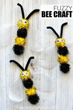 Fun fuzzy bee craft that makes a great spring kids craft, insect craft for kids and book-inspired craft after learning about bees. Fun fuzzy bee craft that makes a great spring kids craft, insect Insect Crafts, Bug Crafts, Daycare Crafts, Preschool Crafts, Fabric Crafts, Bee Crafts For Kids, Spring Crafts For Kids, Summer Crafts, Toddler Crafts